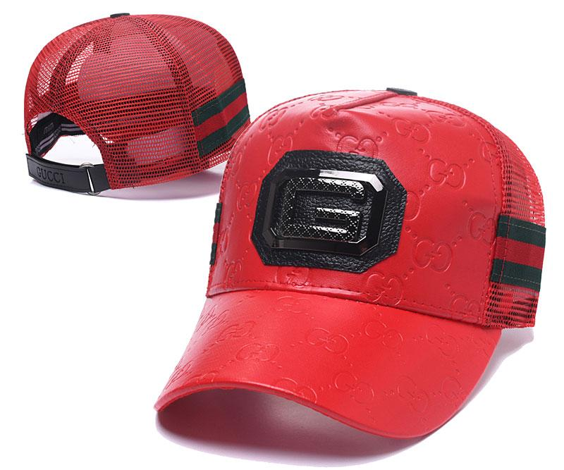 2019 New Luxury PU Leather Ball Hat Mesh Back Sun Visors Caps Adjustable  Golf Cap Classic Red Green Baseball Cap Top Quality Curved Brim Hats From  ... 2c737429962