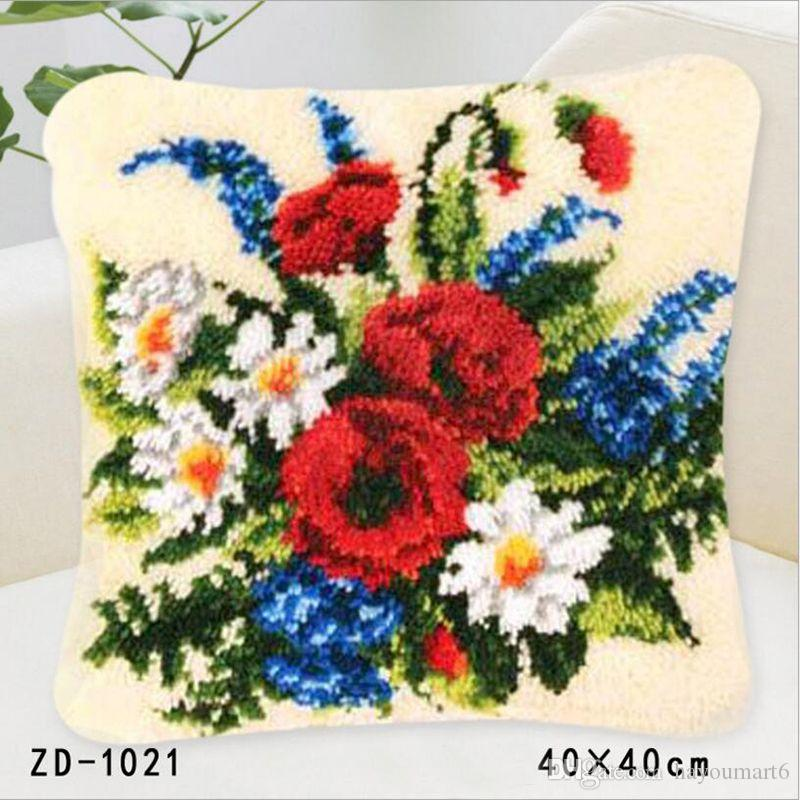 Latch Hook Cushion Kit Gift Diy Needlework Crocheting Throw Pillow Unfinished Yarn Cross Stitch Embroidery Pillowcase Variety Of Flowers