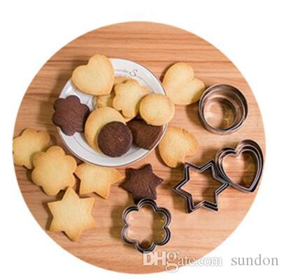 Cookie Cutter Stainless Steel Fondant Cake Baking Mold Round Heart Flower Star Shape Biscuit Moulds