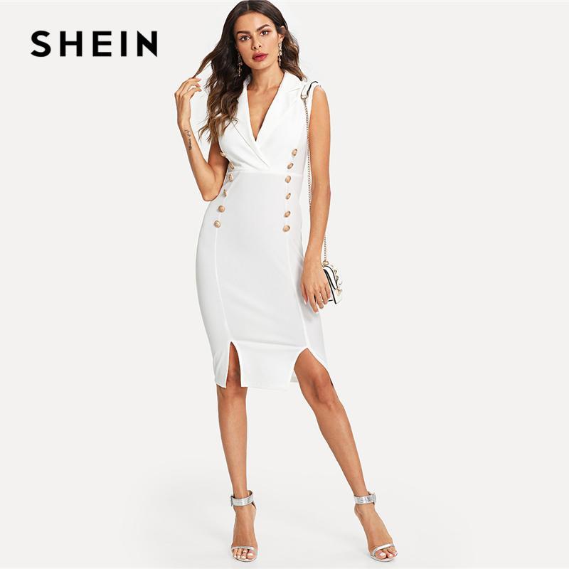 Kleid Weiß Slit Kleider Knopf Shein Frauen Dame Ausschnitt Detail M Ärmellos Büro KnielangenFigurbetontes Elegante Ausgestattet Arbeitskleidung V j4L5AR