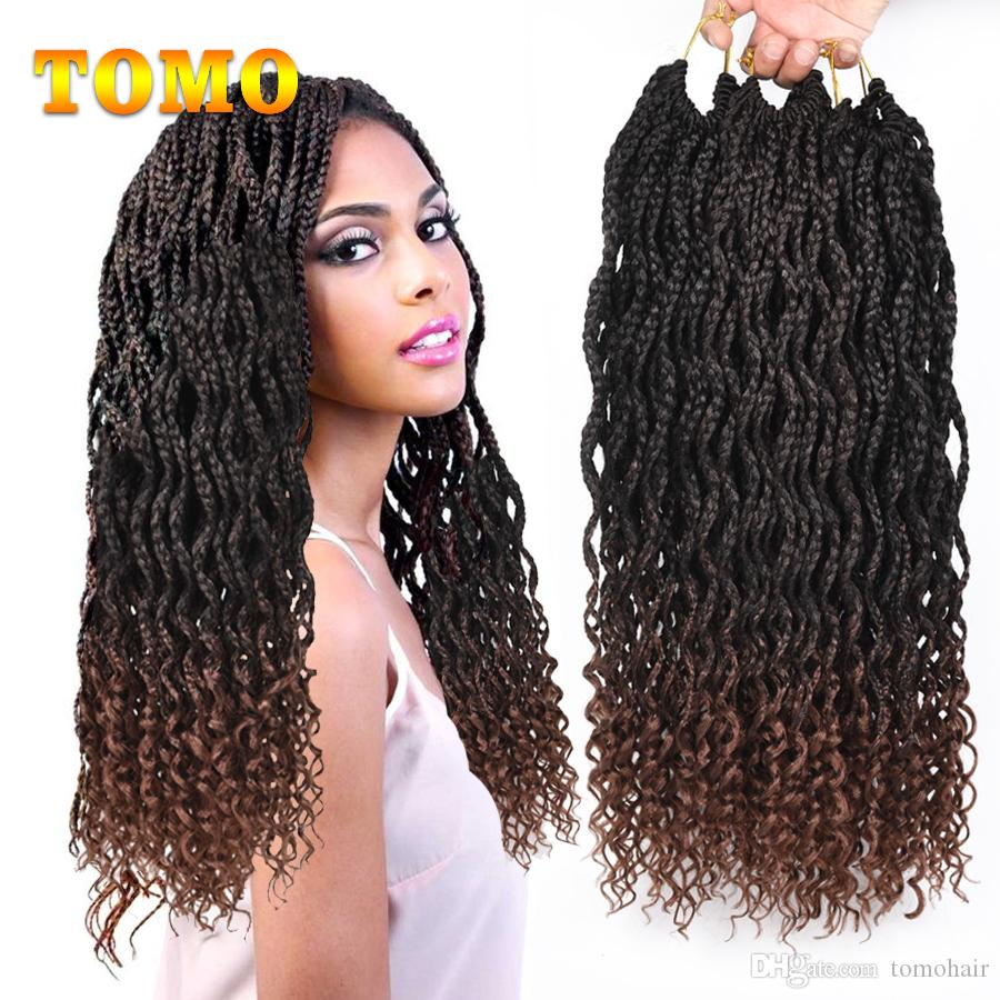 tomo box braids crochet braids wavy roots curly end braided hair mix brown  heat resistant synthetic braiding hair extensions 24strands/pack