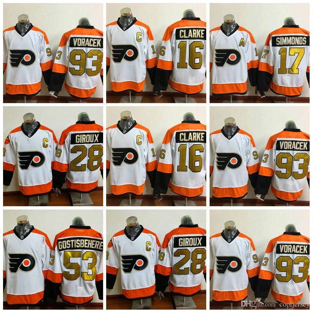 2019 Philadelphia Flyers 50th Anniversary Jerseys Ice Hockey 28 Claude  Giroux Jersey 53 Shayne Gostisbehere 17 Wayne Simmonds 93 Jakub Voracek From  ... bde1182bd