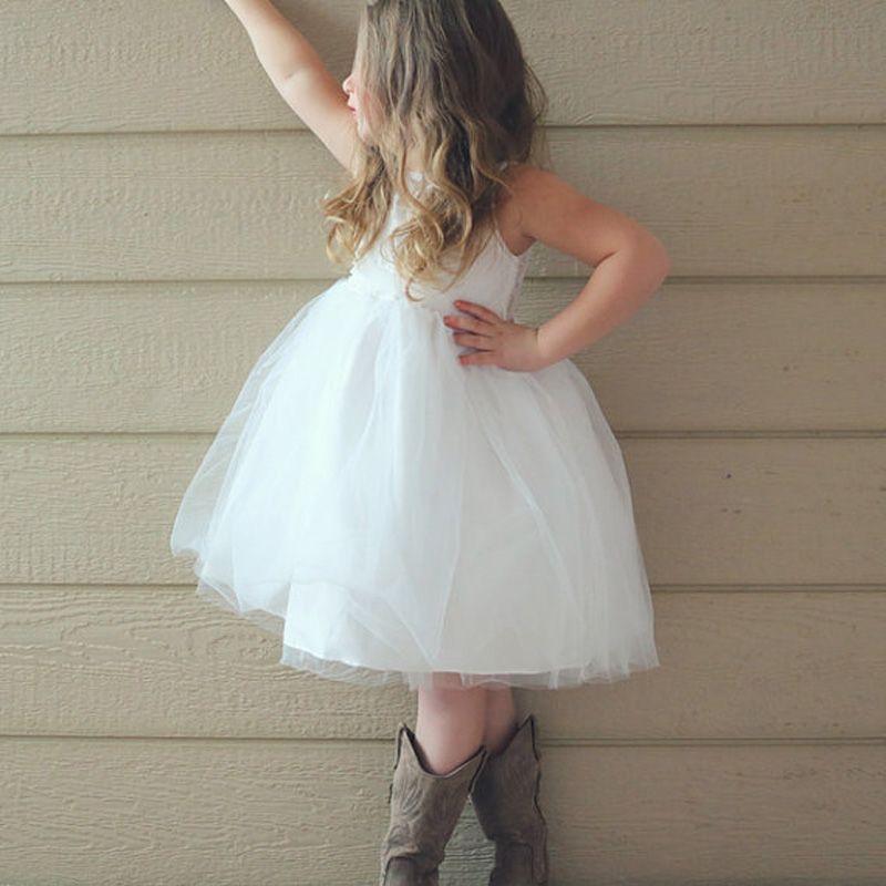 Nouveau genou longueur des robes de demoiselle Sheer cou dos ouvert avec Bretelle robe de bal Filles robe de première communion