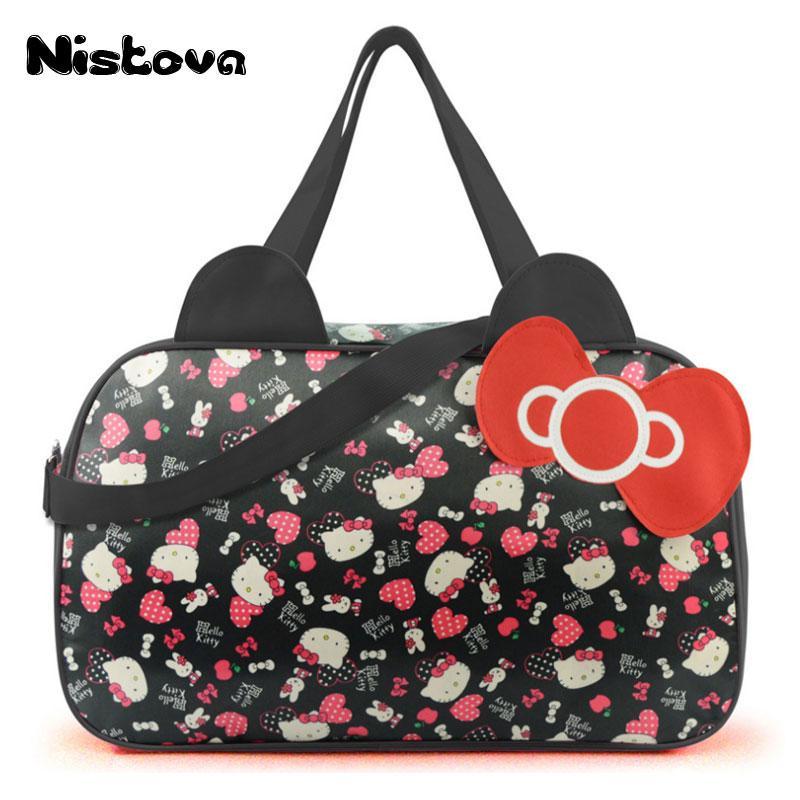 fcdf02673422 Waterproof Travel Bag Luggage Womens Girls Cartoon Shoulder Tote Duffle  Bags Cute Hello Kitty Cat Handbags Accessories Supplies Black Bags  Crossbody Purse ...