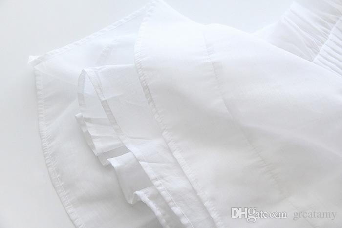 2018 meninas verão vestido de princesa doce linda folha de lótus super imortal vestido para crianças cor branca crianças boutique tutu saias