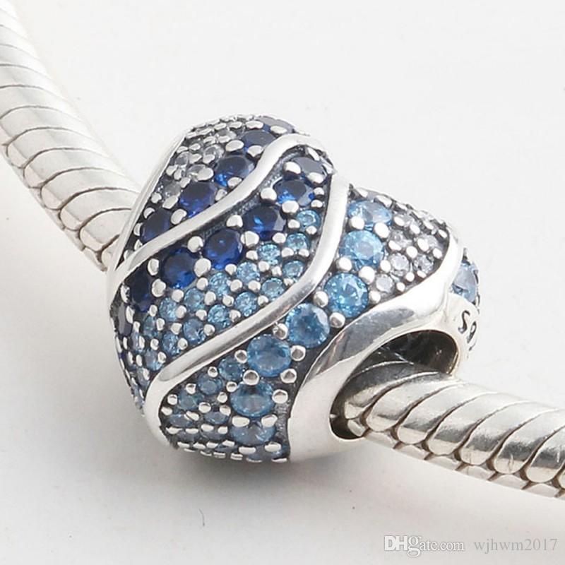 Neue authentische s925 sterling silber perle voll pave blau klar kristall liebe herzen charm fit pandora armbänder diy charme schmuck