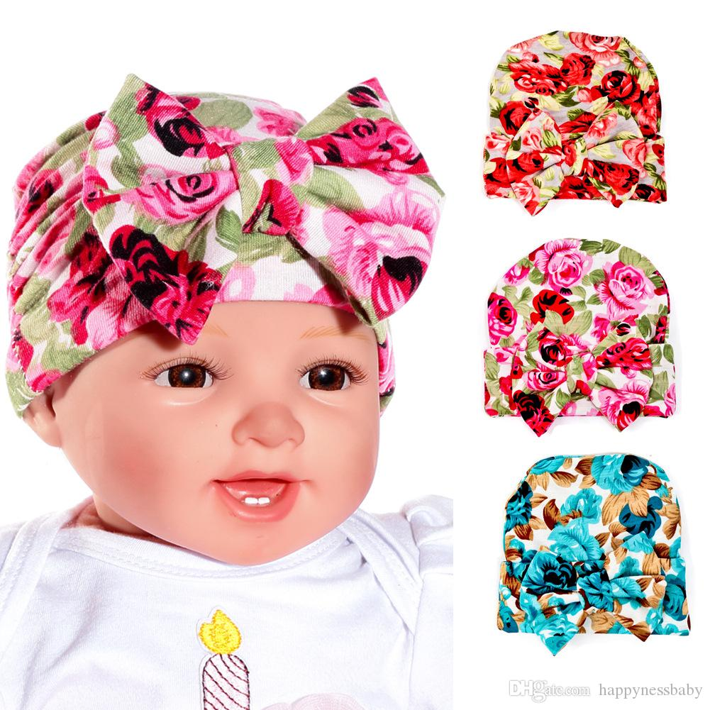 Newborn Hat Children Rose Big Bowknot Knitted Cap Baby Knot Head Wraps Caps  Cotton Newborn Child Hats MZ022 UK 2019 From Happynessbaby 08316285f85f