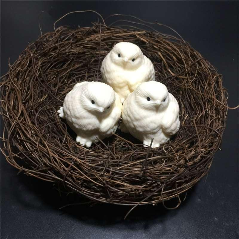 Ivory Zodiac Chicks Hand-carved Handle Piece wenwan ornaments gift box