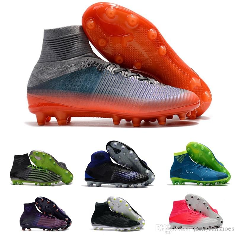 High Top Mens Kids Soccer Shoes Mercurial CR7 Superfly V AG Boys Football  Boots Magista Obra Women Youth Soccer Cleats Cristiano Ronaldo UK 2019 From  ... d1a90d616
