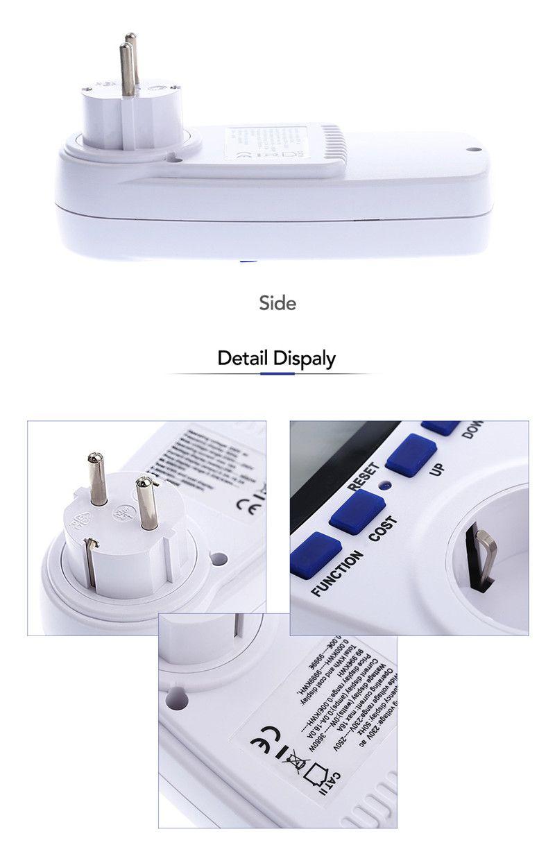 Popular EU Plug Digital Voltage Wattmeter Power Analyzer Electronic Power Meter Energy Meter Automatic Kwh Power Switch