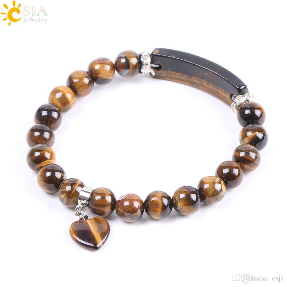 CSJA New Fashion Natural Gemstone Beads Tiger Eye Men Strand Bracelets & Bangles Heart Shape Women Jewelry Love Valentines Day Gifts F105
