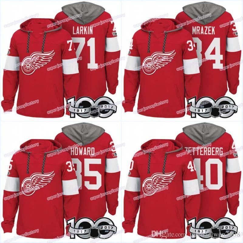 hot sale online d4d37 c82a6 Men 100th Detroit Red Wings Jerseys 25 Mike Green 71 Dylan Larkin 34 Petr  Mrazek 35 Jimmy Howard 40 Zetterberg Hoodies Jerseys Sweatshirts