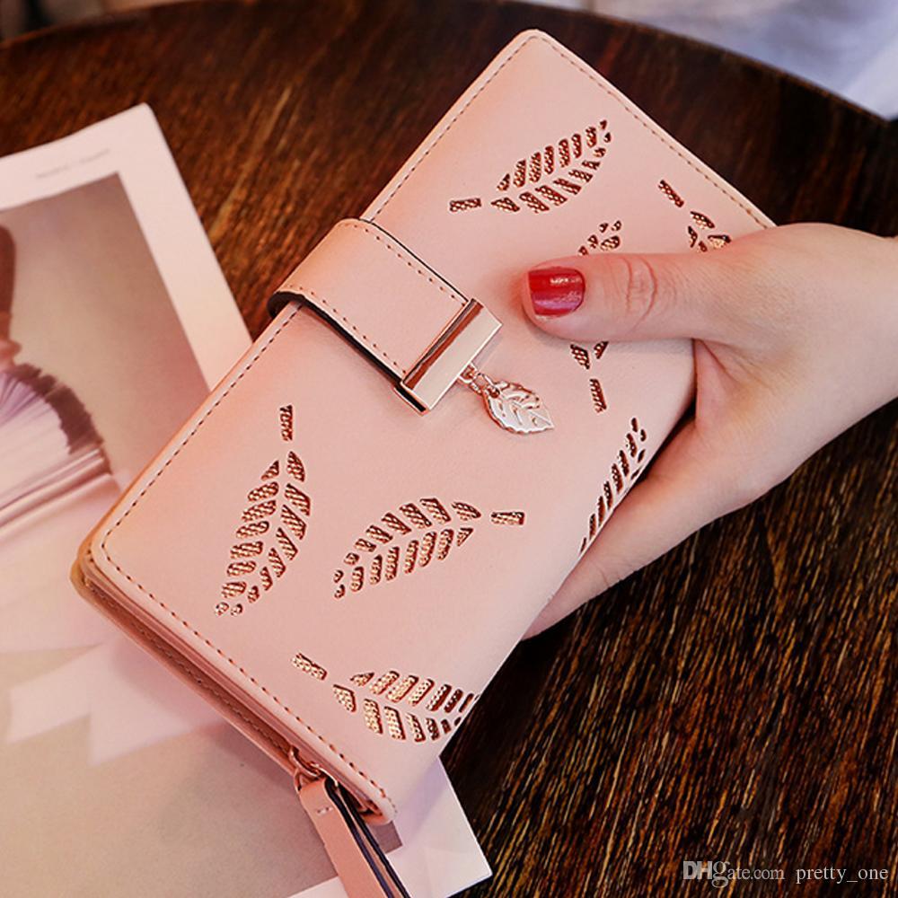 Wholesale Women Wallets Purses Zipper Hollowed Out Leaves Designer Clutch Bag ID Credit Card Holder Long Bag