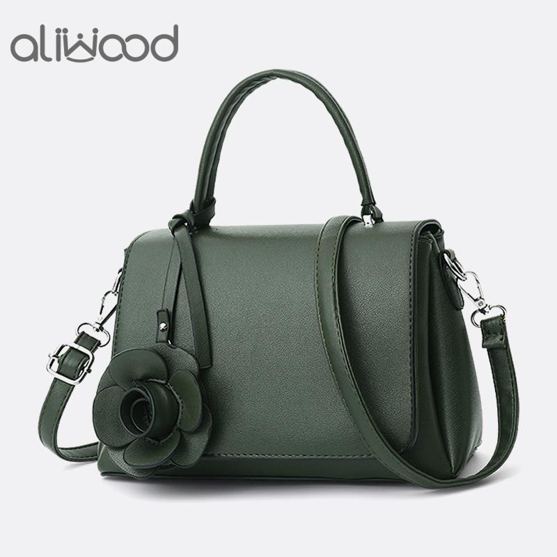 f3812754732 aliwood Elegant Simple Women's Handbags With Rose Flower Leather Tote  Ladies Shoulder Bag Female Crossbody Bags Bolsas Feminina