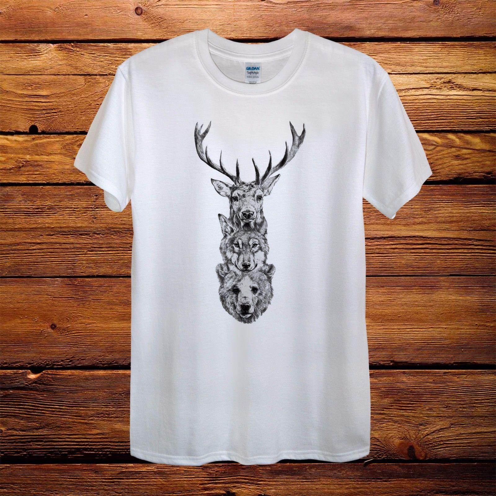 Deer Wolf Bear Animal New Design T-Shirt Men Funny free shipping Unisex Casual gift