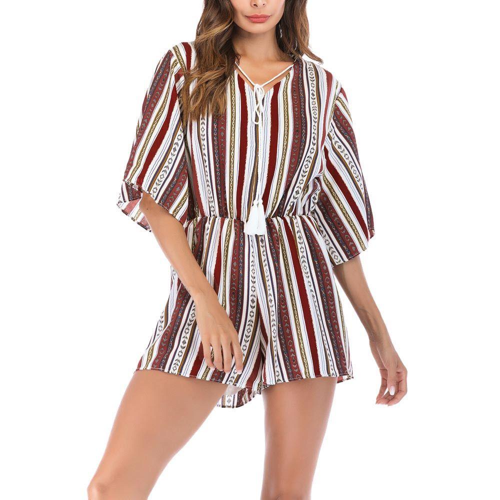 0be087d07f06 Romper Women Bohemian Summer Jumpsuit Striped V-Neck Bandage Short Sleeve  Women Bodysuits Combishort Femme Online with  39.12 Piece on Lixlon09 s  Store ...