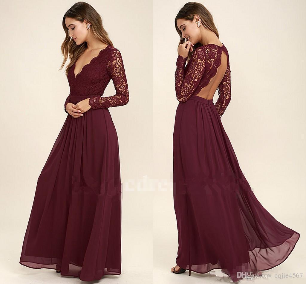 2018 Sexy espalda larga sirena vestidos de dama de honor con cuello en v apliques con cuentas de encaje de país vestidos de invitados de boda mangas largas vestido de dama de honor nupcial