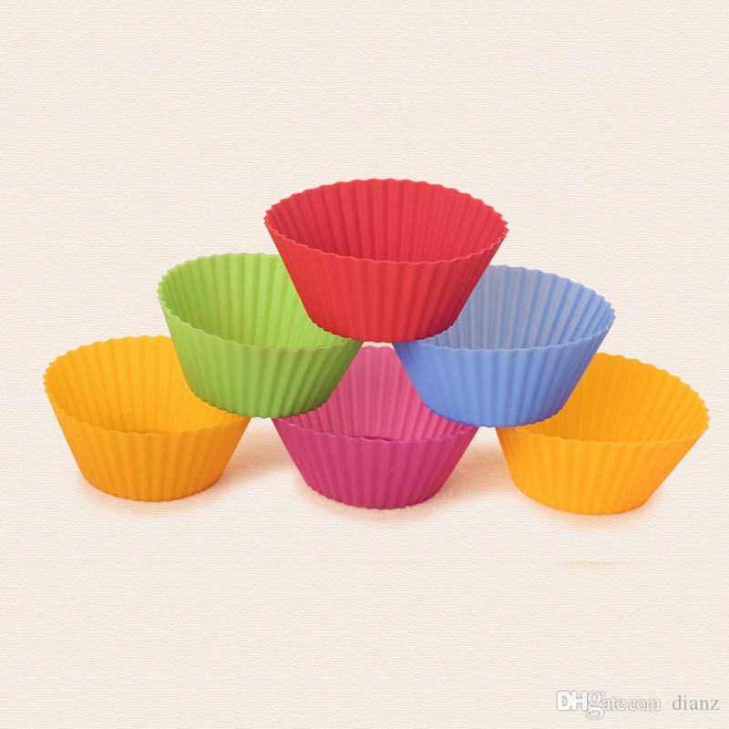 Ronde vorm Siliconen Jelly Bakvorm 7cm Muffin Cup Cake Cups Cupcake Liner