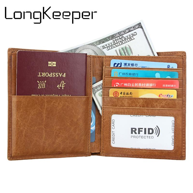 5c7cd63f5 Passport wallet RFID BLOCKING top grain genuine cow Leather leather passport  cover+ Identity Theft protection mens wallet 8235