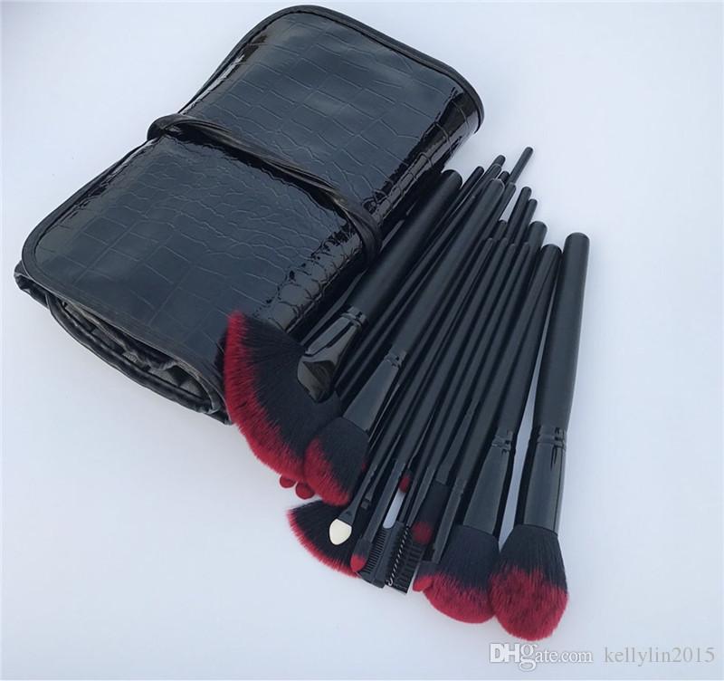 메이크업 브러쉬 세트 키트 레드 블랙 컬러 전문 화장품 케이스 립 아이 섀도우 파운데이션 메이크업 브러쉬 도구