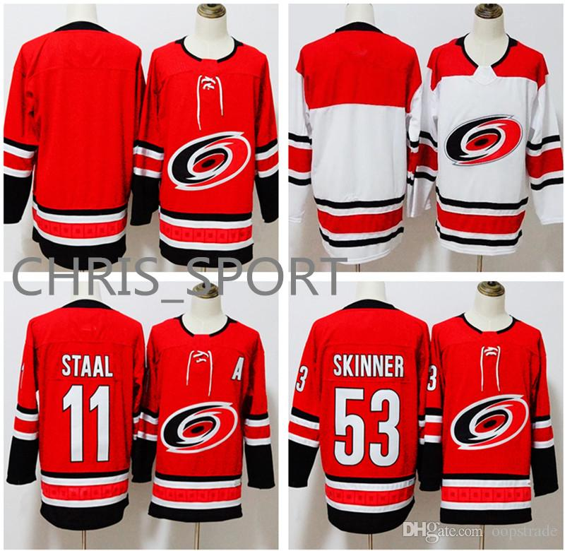 4747e2521 New Style Carolina Hurricanes Premier Hockey Jerseys  11 Jord an Staal 53  Jeff Skinner Home red Away white Player Uniform Accept Customized Jeff  Skinner ...
