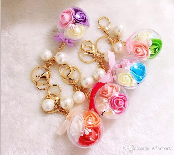 Transparent Ball Keychains 3 Rose Flower Pearl Women S Keychain Keyring  Handbag Ornaments Key Ring Car Hanger Designer Keychains Key Chain Holder  From ... 37131a6cf5