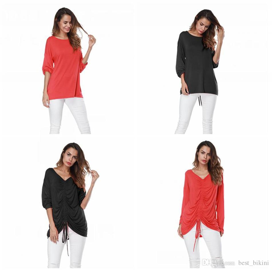 61c93bab7713 Women Solid Long Sleeve T Shirt Round Neck Summer Sexy Lace Up Strings  Loose Top Tees LJJO4123 Designs For T Shirts Awesome T Shirt From  Best bikini