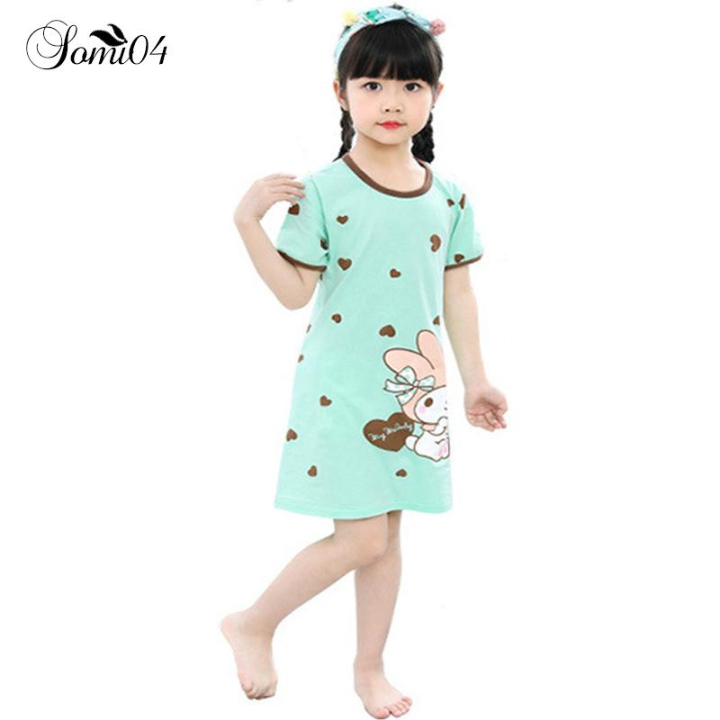 1d59424a3016 2018 New Cotton Nightdress Little Teens Girls Pajamas Dresses Children  Cartoon Bear Summer Nightgown Home Clothes Kids Sleepwear Y18103008 Pajama  Sets For ...
