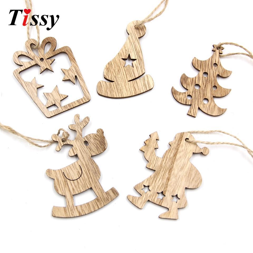 Diy Christmas Wooden Pendant Star&Deer&Tree Ornaments Xmas Tree ...