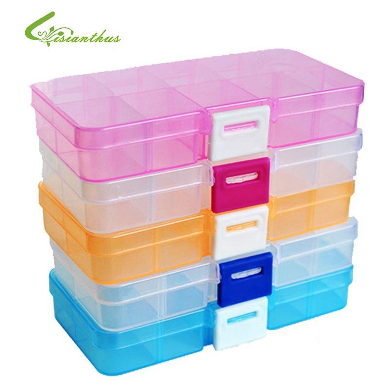 2018 10 Compartment Plastic Storage Box Compact Adjustable Jewelry