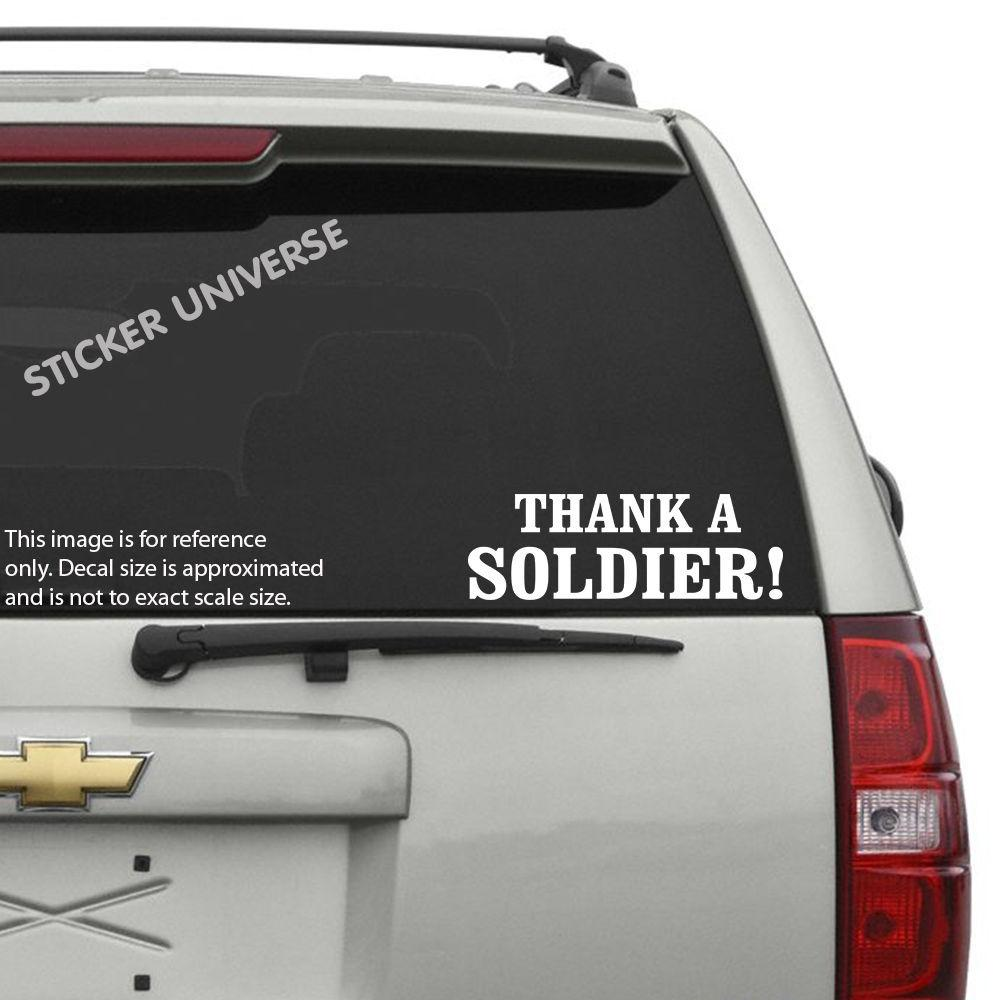Car styling for thank a soldier vinyl die cut decal sticker 3x9 usa military us forces army