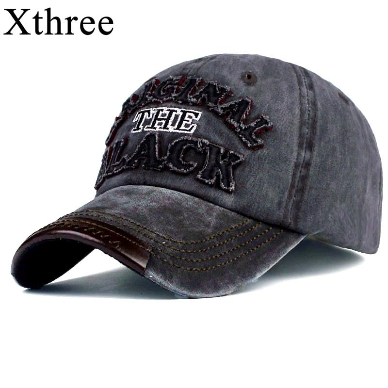 65113c8aa Xthree hot retro baseball cap fitted cap snapback hat for men women gorras  casual casquette Letter embroidery black