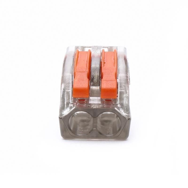 PCT-212 222-412 Spring Lever Push Fit Cable transparent 28-12AWG Universal 2 Pin Universal Conductor Terminal Block transparent
