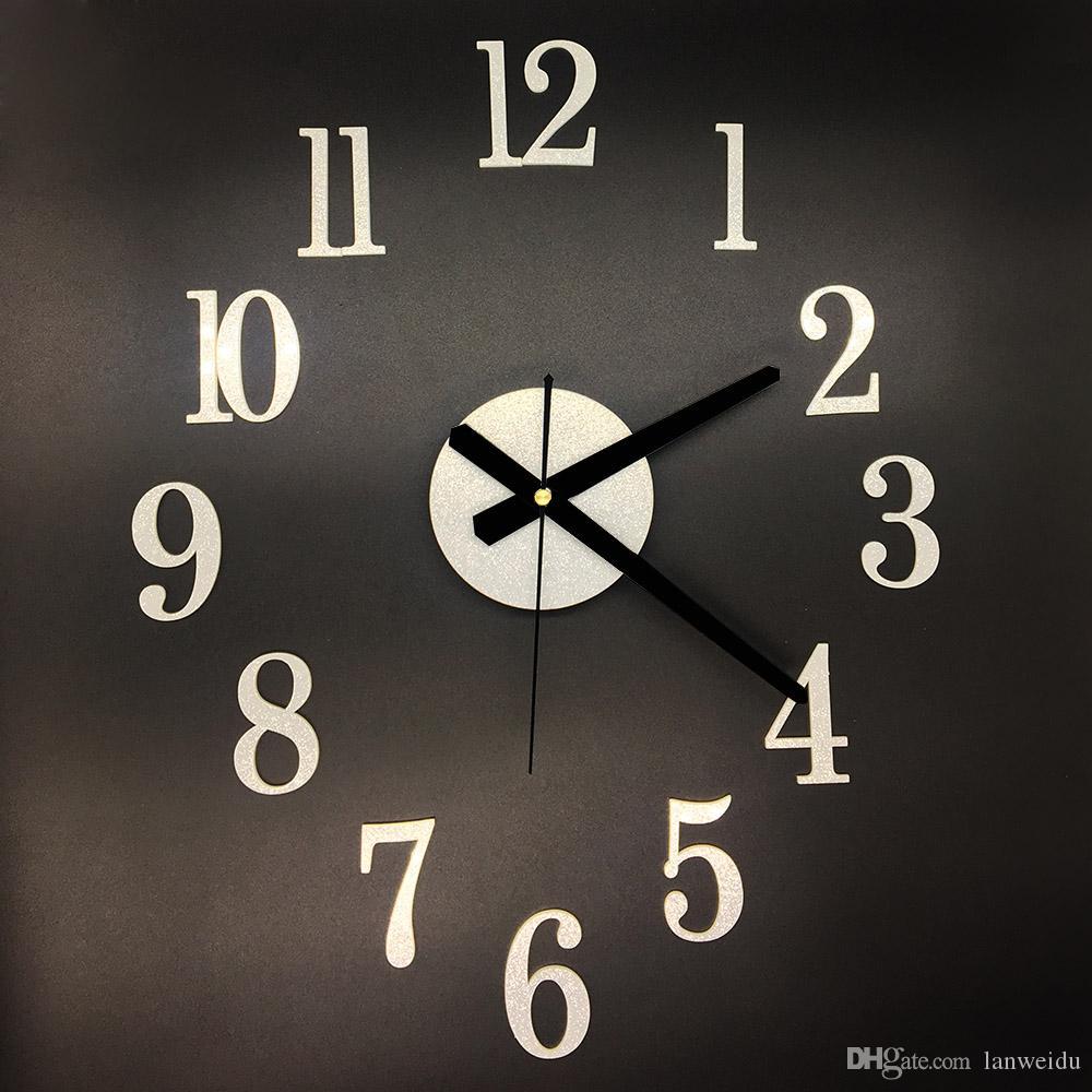 a7893fcd35e2 Compre 3D DIY Decoración Para El Hogar Números Arábigos Espejo Antiguo Moda  Reloj De Cuarzo Moderno Salón Diy Reloj De Pared Reloj Con Estilo Relojes  De ...
