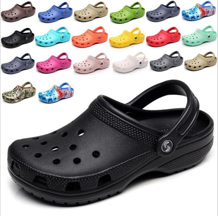 af06eb004e07 CROCSNESSINGLYS 2018 Men Summer Slippers Fashion Beach Sandals Casual Flats  Slip On Hole Shoes Men Hollow Plus Size 40-46 Men s Sandals Cheap Men s  Sandals ...