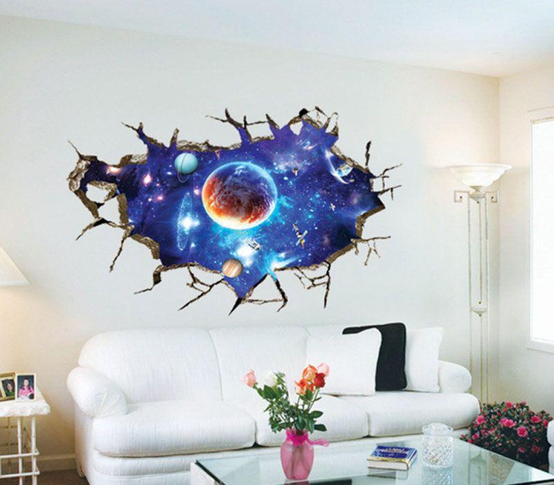Criativo 3D nova fantasia céu adesivos de parede sala de TV parede papel de parede fundo pintura decorativa PVC adesivos