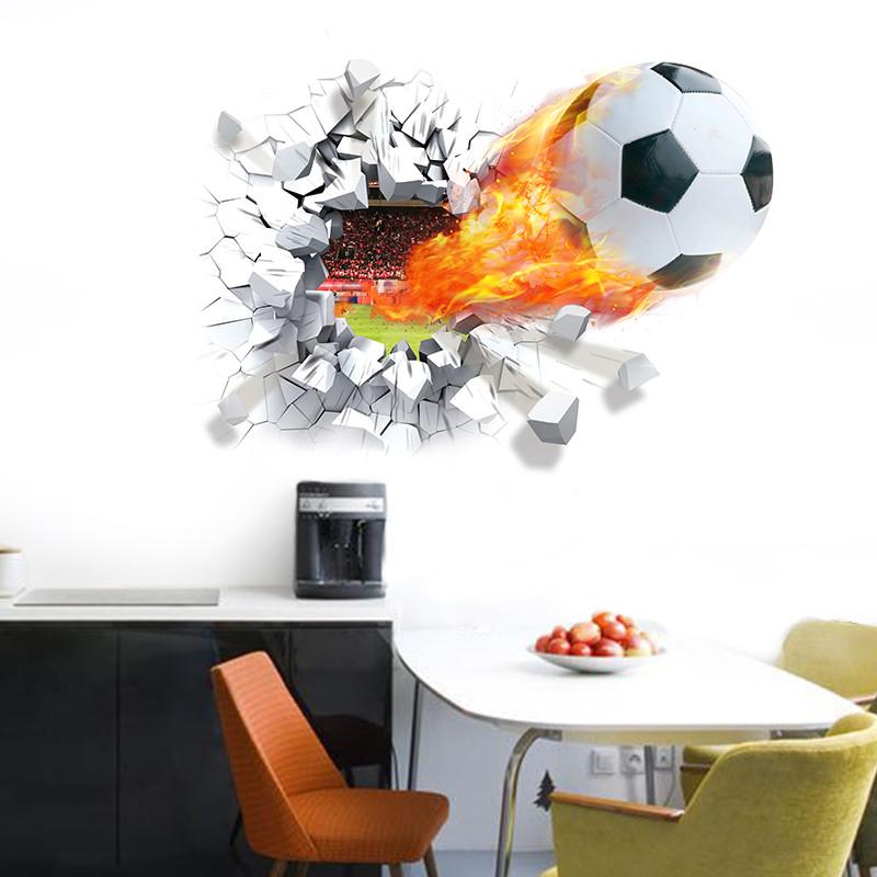 football through wall stickers for kids room home decoration wall