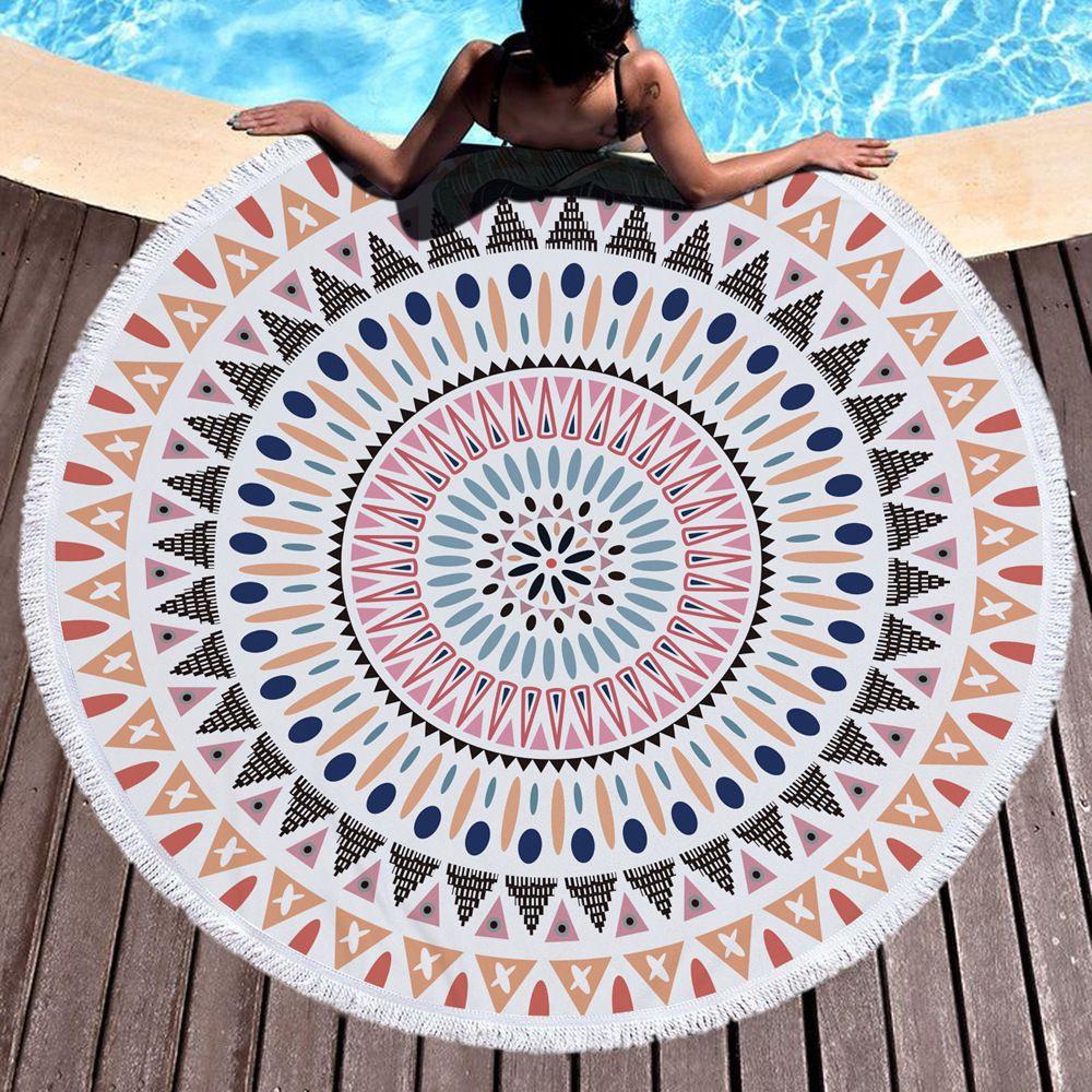 150cm Grande Imprimé ronde Microfibre Serviettes de plage avec pompons Bohême Mandala Lotus Motif Cercle Serviette de plage tapis de yoga 26 Conception