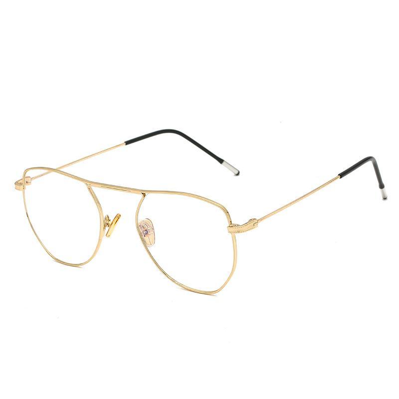 3e5199a40996ac Compre Nuevo Marco De Metal Dorado Vintage Anteojos Para Hombre Para Mujer  Gafas De Ordenador Retro Lente Óptica Gafas Nerd Gafas De Lentes  Transparentes A ...