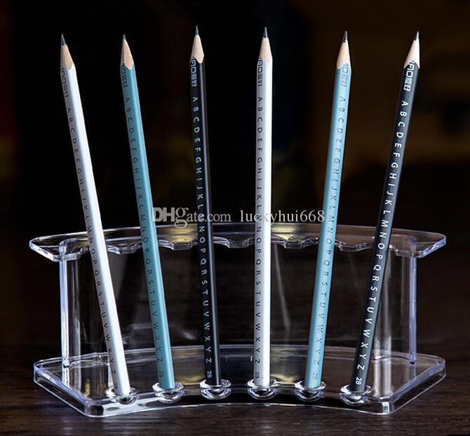 Frete grátis Acrílico Pen Titular Escova Cosmética Eyeshadow Pencil cor Caneta Batom Display Stand Rack Cosmet prateleira de lápis de Cristal