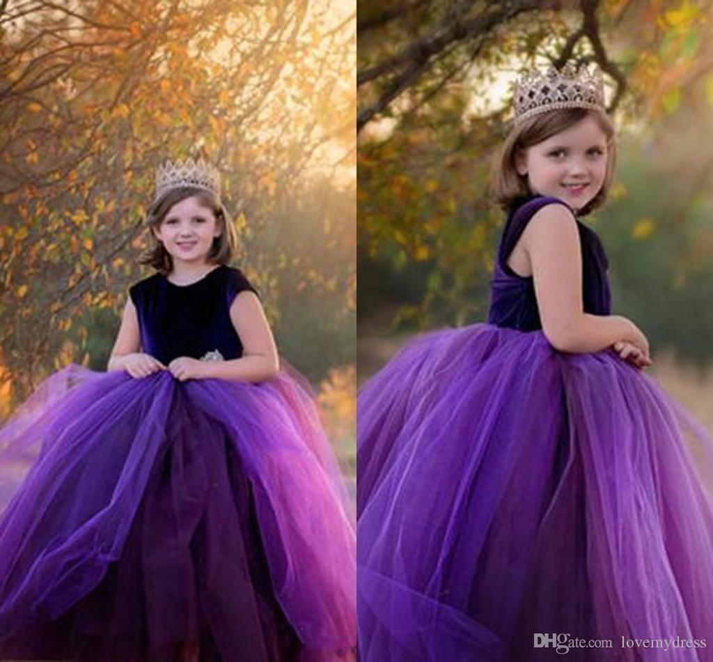 7fa6bb19cbc Stunning Purple Velvet Tulle Flower Girl Dress Short Sleeves Ball Gown  Jewel Floor Length Kids First Communion Dress Cheap Long Grey Flower Girl  Dresses ...