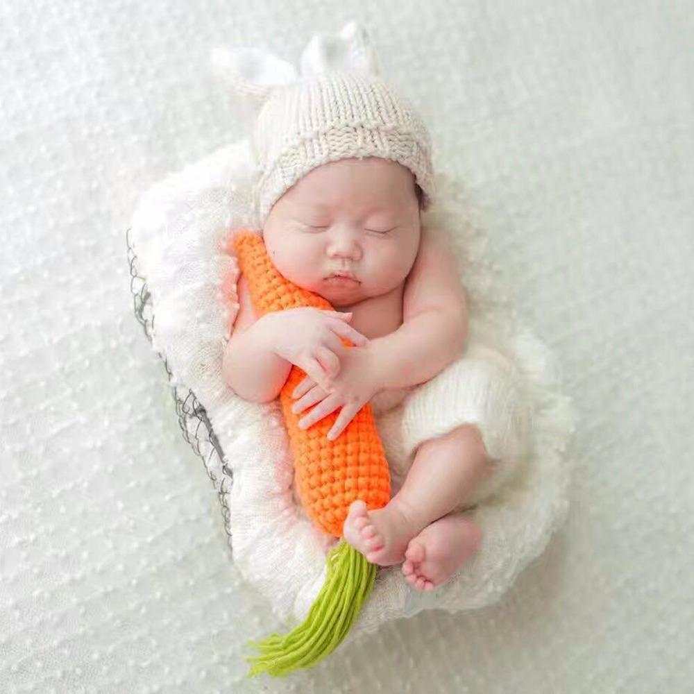 9260aa454fc5b Puseky Newborn Photography Props Lovely Rabbit Costume Ears Hat Pants  Carrot Handmade Cotton Yarn Studio Photography Clothing