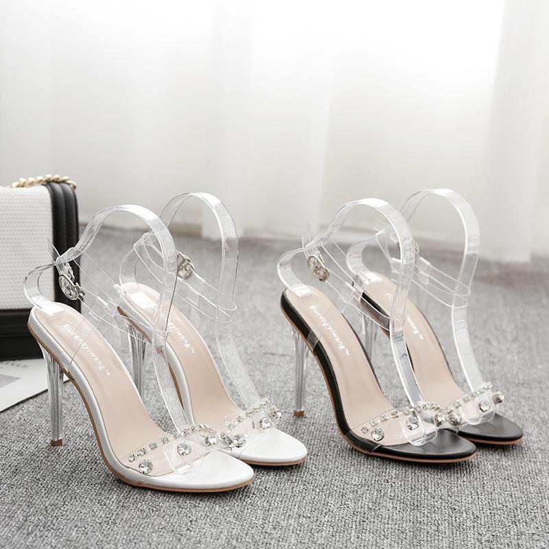 86a94ec2446 High Heel Beautiful Sandals 2018 Summer New Pattern Rhinestone Transparent  Latest Fashion Sexy Women Black White Shoes 35 40 Code Hot Gold Sandals  Sandals ...