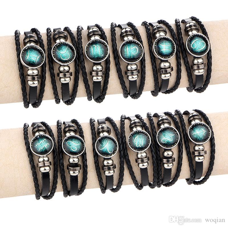 Moonstone 12 Zodiac Sings Bracelets For Women Or Men Fashion Alloy Leather beaded Casual Personality Vintage Jewelry Bangle B201