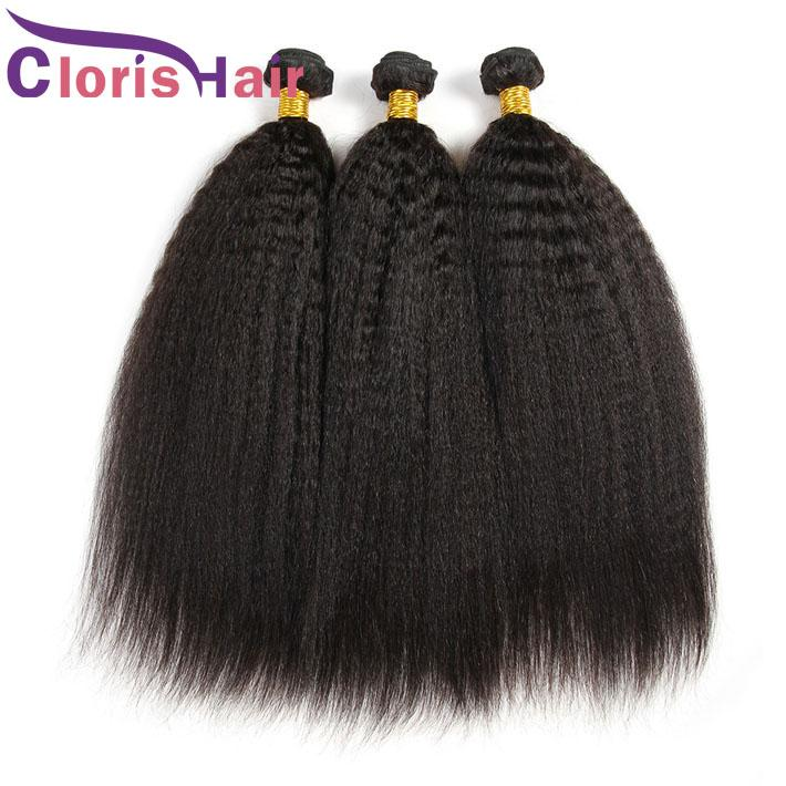 Top Peruvian Kinky Straight Hair 3 Bundles Coarse Yaki Human Hair Extensions Wholesale Light Yaki Straight Weaves Marley Products
