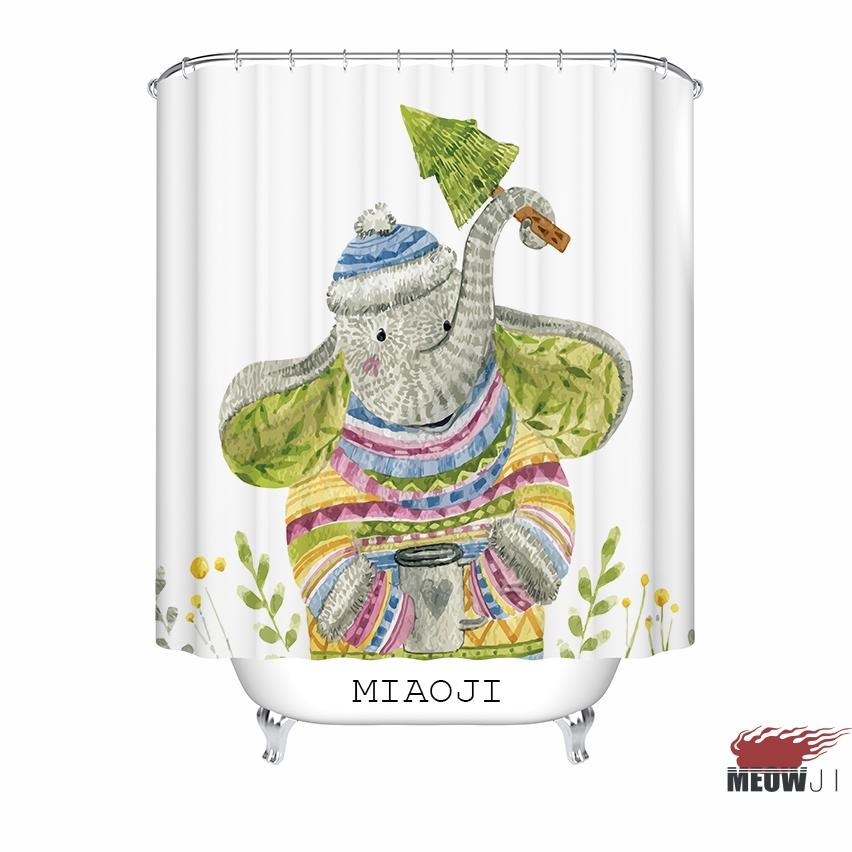 2019 MIAOJI Watercolor Animals Cute Monkey Fox Bear Elephant Print Shower Curtain Multi Sizes Bathroom Decor From Amaryllier 3398