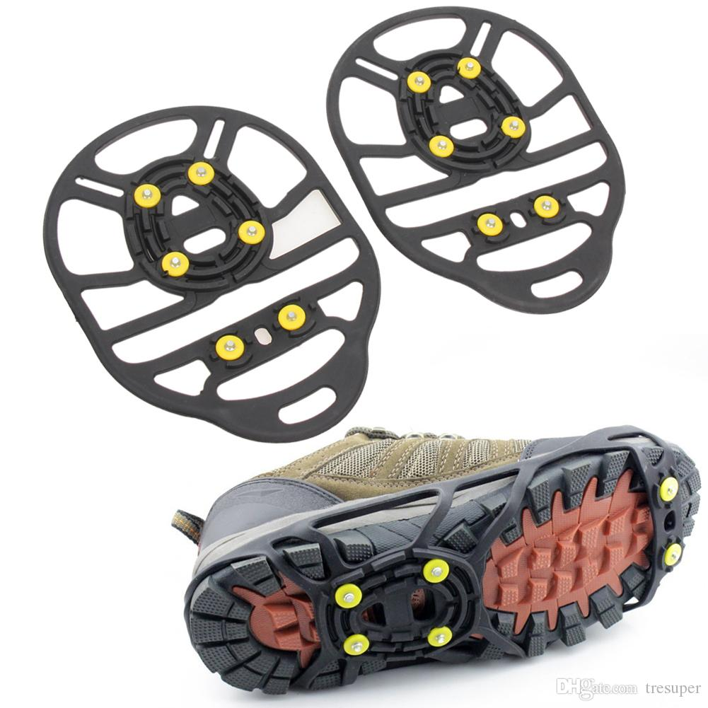 Professional 6 Studs Anti-Skid Snow Ice Gripper Mountaineering Climbing Shoes Magic Spikes Grips Cleats Overshoes Covers Crampon