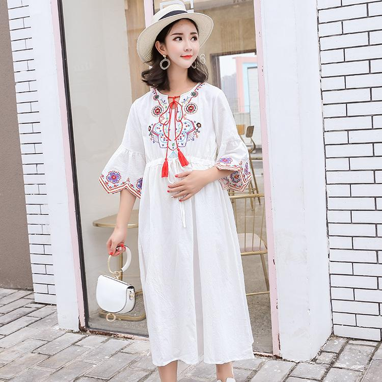 196c8ab317845 2019 Maternity Dress For Pregnant Women Summer Elegant Embroidery Chalaze  Ethnic Style Cute Plus Size Chiffon Loose Flowing Dress From Paradise02, ...