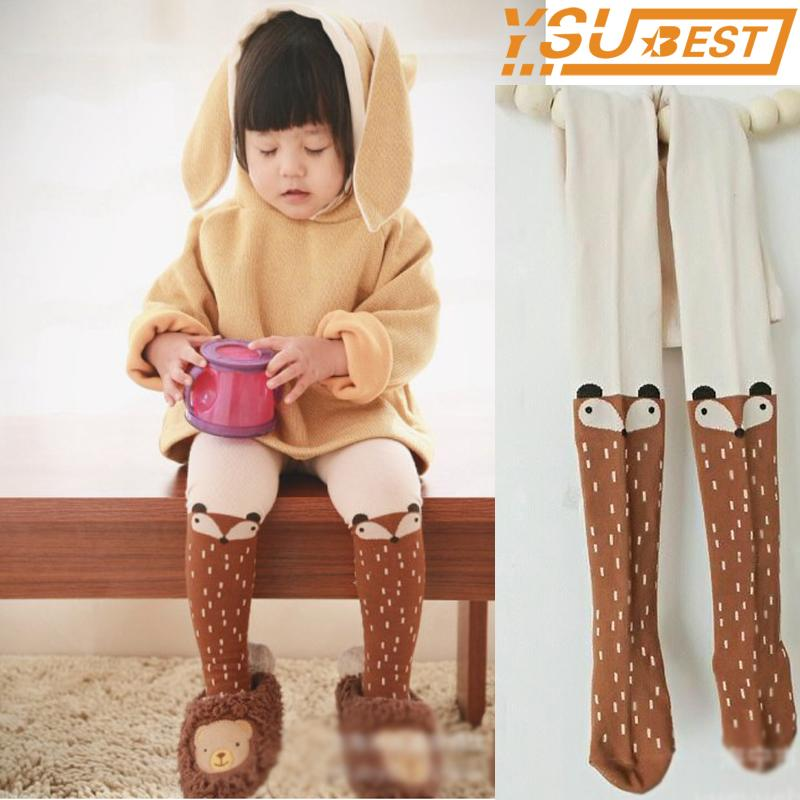 2018 Baby Kids Girls Fox Stockings Pants Children Spring Autumn Pantyhose Cartoon Fox Cotton Soft Baby Girl Tights For Kid Kawaii