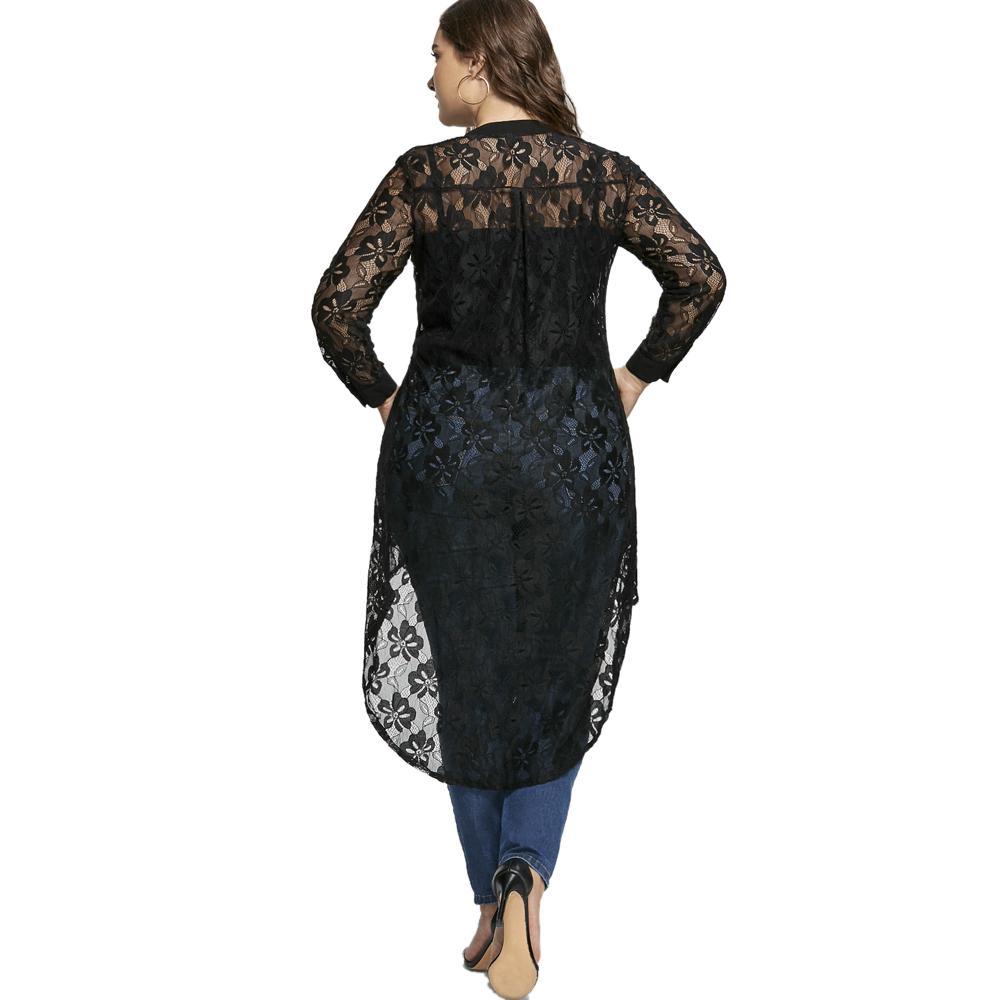 Blusa de mujer de talla grande de AZULINA Blusa de manga larga de encaje alto bajo para mujer 2018 Primavera Botones transparentes Blusas Camisas Talla grande